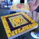 Mosaic table waiting to attach tiles to the table
