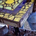 My mosaic table with brown grout