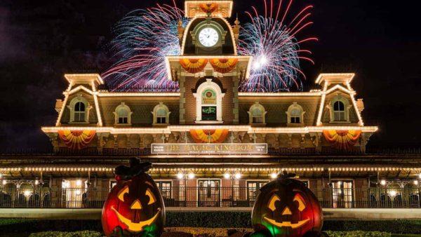 Disney World Entrance with Pumpkins