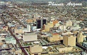 Aerial view of Phoenix Arizona 1960s