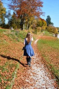 Young Lady Walking in the German countryside in Autumn