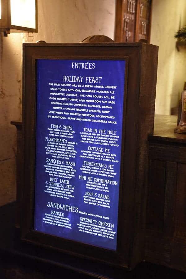 Leaky Cauldron Detailed Menu