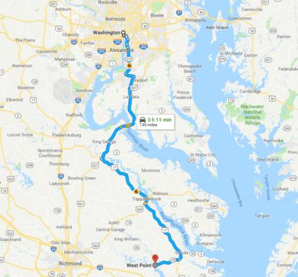Google Map West Point VA to Washington DC