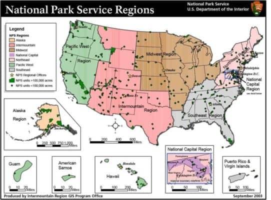 National Park Service Regions Map - Summer Jobs
